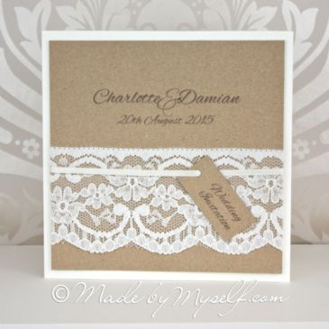 Kraft Card and Lace Pocketfold Wedding Invitation
